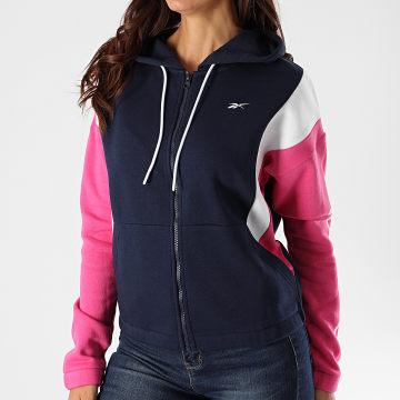 Reebok - Sweat Zippé Capuche Femme TE Linear Logo FU2249 Bleu Marine Rose