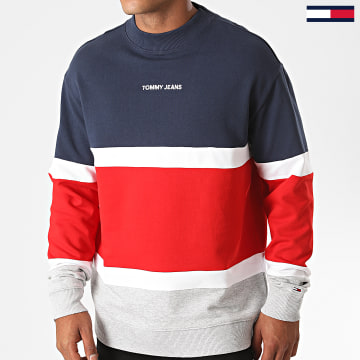 Tommy Jeans - Sweat Crewneck Tricolore Retro Colorblock 8404 Bleu Marine Rouge