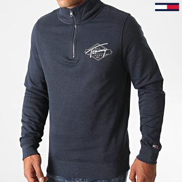 Tommy Jeans - Sweat Col Zippé Tonal Logo Mock 8412 Bleu Marine