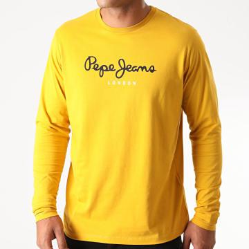 Pepe Jeans - Tee Shirt Manches Longues Eggo Long jaune Moutarde