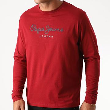 Pepe Jeans - Tee Shirt Manches Longues Eggo Long Bordeaux