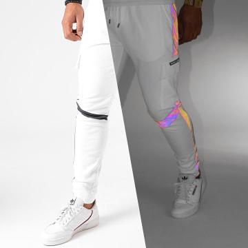 Project X - Pantalon Jogging A Bandes 2040082 Blanc Réfléchissant Iridescent