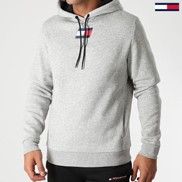 Tommy Sport - Sweat Capuche Flag Fleece 0558 Gris Chiné