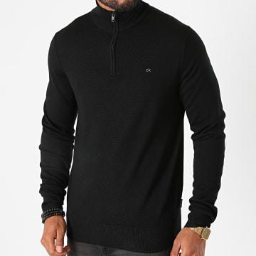 Calvin Klein - Sweat Col Zippé Superior Wool 5939 Noir