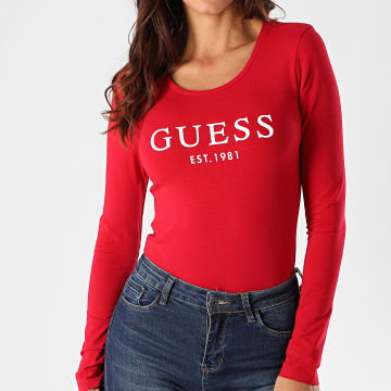 Guess - Body Femme Manches Longues O0BM08-J1311 Rouge