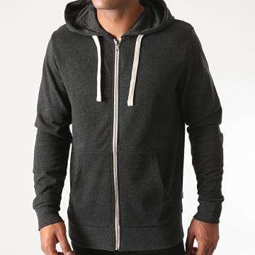 Jack And Jones - Sweat Zippé Capuche Holmen Gris Anthracite Chiné
