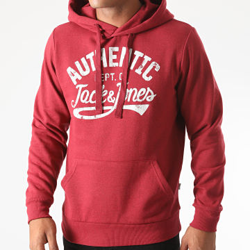 Jack And Jones - Sweat Capuche Jeanswear Rouge Chiné