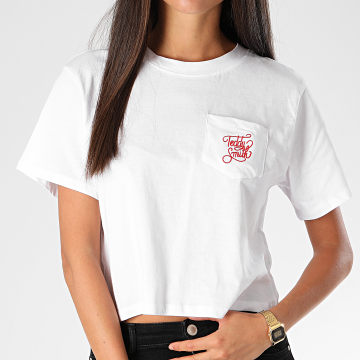 Teddy Smith - Tee Shirt Poche Femme Hazel Blanc