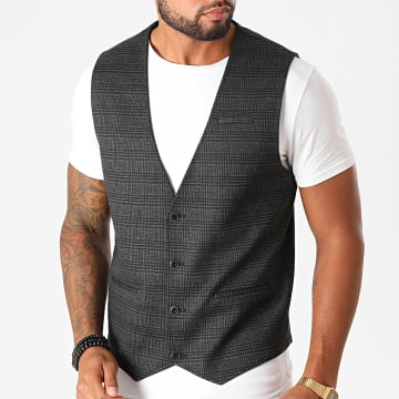 Indicode Jeans - Gilet A Carreaux Coolidge Gris Anthracite