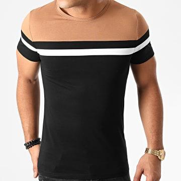 LBO - Tee Shirt Tricolore 1396 Noir Camel Blanc