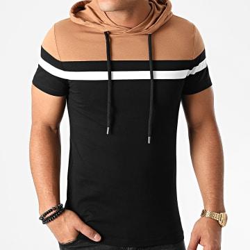 LBO - Tee Shirt Capuche Tricolore 1397 Noir Camel Blanc