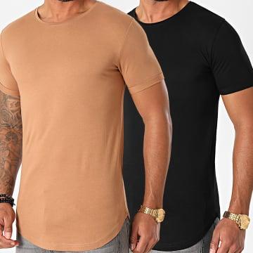 LBO - Lot de 2 Tee Shirts Oversize 1399 Camel Noir