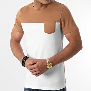 LBO - Tee Shirt Poche 1400 Camel Blanc