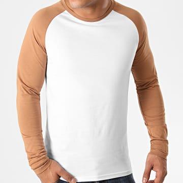 LBO - Tee Shirt Manches Longues Raglan 1401 Blanc Camel