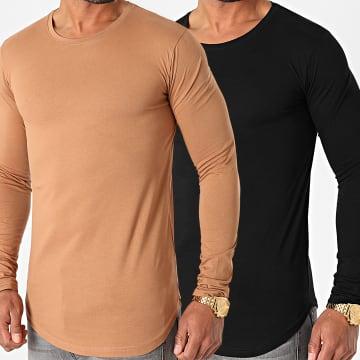 LBO - Lot De 2 Tee Shirts Oversize Manches Longues 1403 Camel Noir