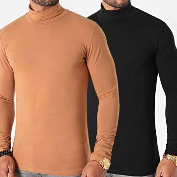 LBO - Lot De 2 Tee Shirts Col Roulé Manches Longues Uni 1404 Noir Et Camel