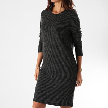 Noisy May - Robe Pull Femme A Rayures Lucie Noir Gris Anthracite Chiné