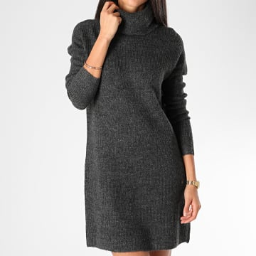 Only - Robe Pull Femme Manches Longues Jana Gris Anthracite Chiné