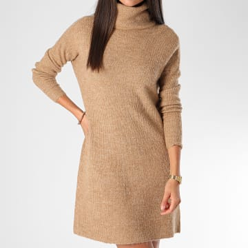Only - Robe Pull Femme Manches Longues Jana Beige Chiné