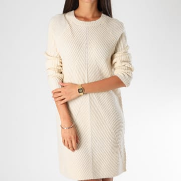 Only - Robe Pull Femme Manches Longues Carol Ecru