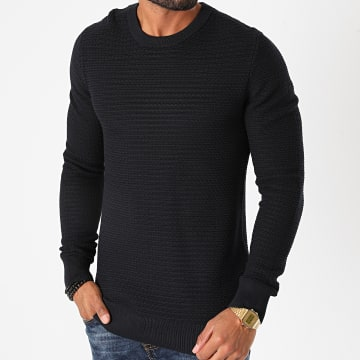 Selected - Pull Haron Structure Bleu Marine
