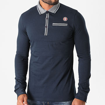American People - Polo Manches Longues Papik Bleu Marine