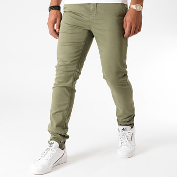 American People - Pantalon Chino Slim Paciano Vert Kaki