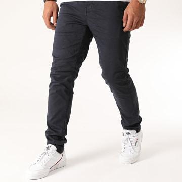 American People - Pantalon Chino Slim Paciano Bleu Marine