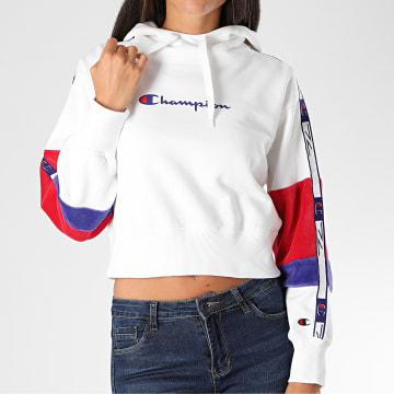 Champion - Sweat Capuche Femme A Bandes 113338 Blanc