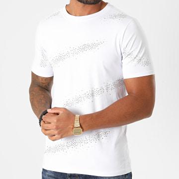 Berry Denim - Tee Shirt A Strass XP039 Blanc Argenté