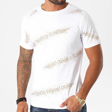 Berry Denim - Tee Shirt A Strass XP039 Blanc Doré