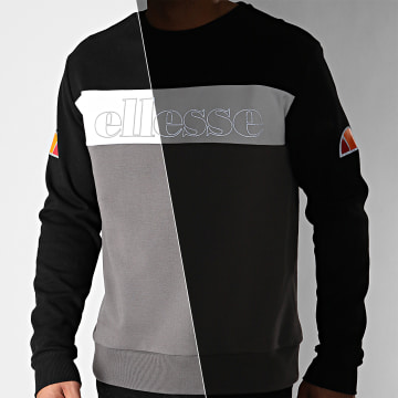 Ellesse - Sweat Crewneck Cantona SXG10688 Gris Anthracite Noir Blanc Réfléchissant
