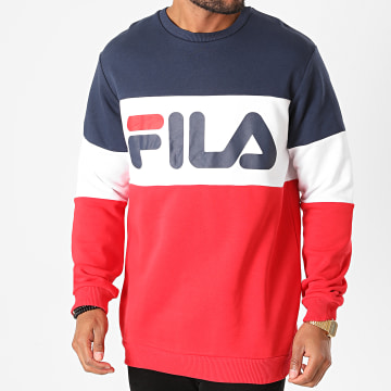 Fila - Sweat Crewneck Straight Blocked 681255 Bleu Marine Blanc Rouge