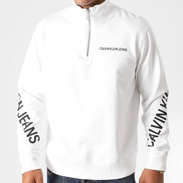 Calvin Klein - Sweat Col Zippé Stretch Logo 6523 Blanc