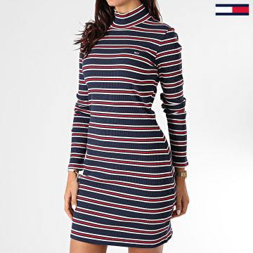 Tommy Jeans - Robe Femme A Rayures Rib Stripe 8872 Bleu Marine Blanc Rouge