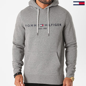 Tommy Hilfiger - Sweat Capuche Tommy Logo 1599 Gris Anthracite Chiné