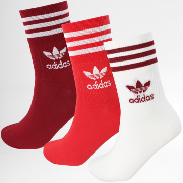 Adidas Performance - Lot De 3 Paires De Chaussettes GD3578 Bordeaux Rouge Blanc