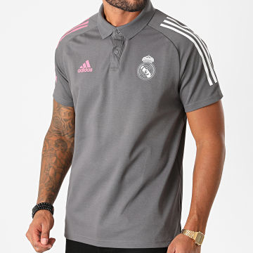 Adidas Performance - Polo Manches Courtes A Bandes Real Madrid FC FQ7857 Gris Anthracite