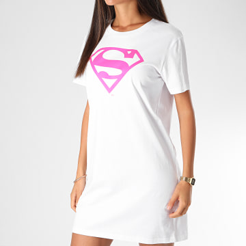 DC Comics - Tee Shirt Robe Femme Logo Superman Blanc Rose Fluo