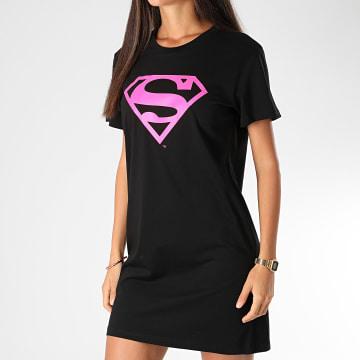 DC Comics - Tee Shirt Robe Femme Logo Superman Noir Rose Fluo