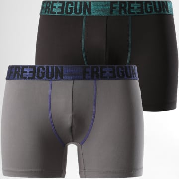Freegun - Lot De 2 Boxers Signature Noir Gris