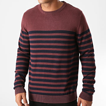 Jack And Jones - Pull A Rayures Blabreton Bordeaux Bleu Marine