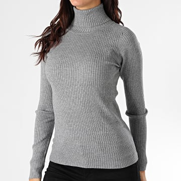 Girls Only - Pull Col Roulé Femme 55472 Gris Chiné