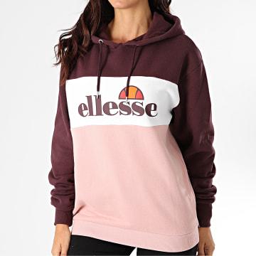 Ellesse - Sweat Capuche Femme Lassandra SGG10886 Rose Blanc Bordeaux