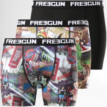 Freegun - Lot De 3 Boxers Print Noir Multi