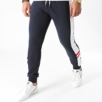LBO - Pantalon Jogging Tricolore 1334 Bleu Marine Blanc Rouge