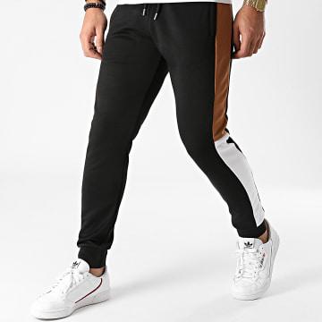 LBO - Pantalon Jogging A Bandes Poly 1333 Noir Blanc Camel