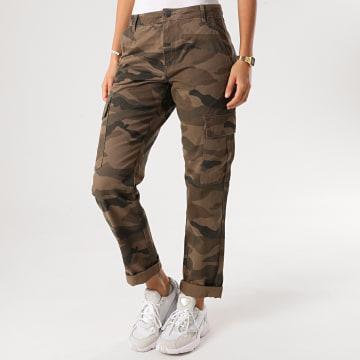 Only - Pantalon Cargo Femme Army Vert Kaki Camouflage