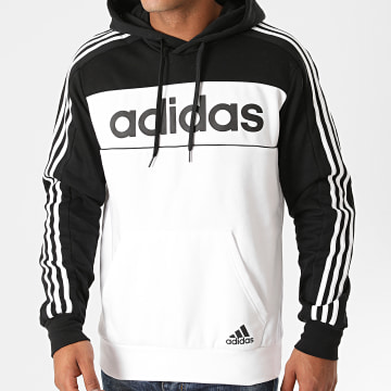 Adidas Performance - Sweat Capuche A Bandes GD5477 Blanc Noir