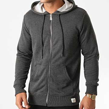 KZR - Sweat Zippé Capuche B025 Gris Anthracite Chiné